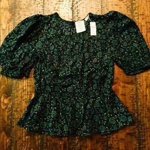 Anthropologie  Meadow Rue peplum top, M, NWT!